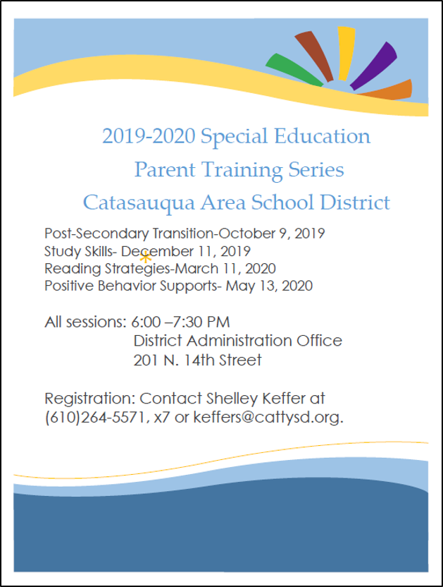 2019-2020 Special Education Parent Training Series
